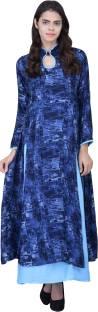Khushali Women's Layered Dark Blue, Light Blue Dress