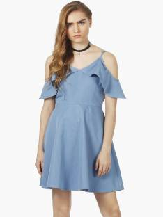 FabAlley Women's Fit and Flare Blue Dress
