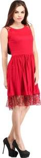 Cottinfab Women's Gathered Red Dress