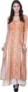 Khushali Women's Layered Orange, Beige Dress
