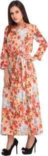 Cottinfab Women's Shift Orange Dress