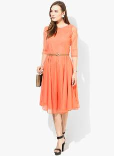 Aika Women's Fit and Flare Orange Dress