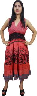 Indiatrendzs Women's Gathered Red Dress