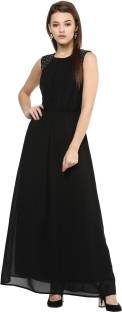 Harpa Women's Fit and Flare Black Dress