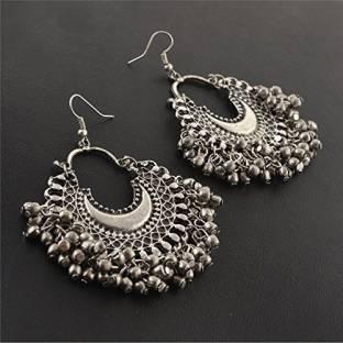 Zephyrr Fashion Oxidized Ethnic Silver Beaded Chandbali Earrings Women Alloy Dangle Earring