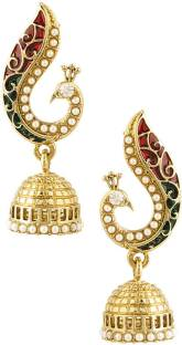 Voylla Sparkle Beads Alloy Jhumki Earring