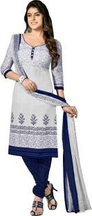 Khushali Cotton Polyester Blend Self Design, Printed Salwar Suit Dupatta Material
