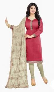 Khushali Chanderi Embroidered, Solid Salwar Suit Dupatta Material