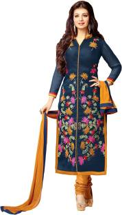 Vbuyz Cotton Embroidered Semi-stitched Salwar Suit Dupatta Material