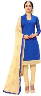 Manvaa Chanderi Embroidered, Solid Semi-stitched Salwar Suit Dupatta Material
