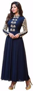 Liza Georgette Embroidered Semi-stitched Salwar Suit Dupatta Material