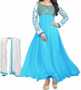 Maniya Creation Georgette Embroidered Semi-stitched Salwar Suit Dupatta Material