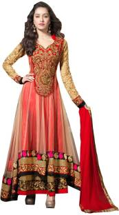 DT Fashion Net Embroidered Semi-stitched Salwar Suit Dupatta Material