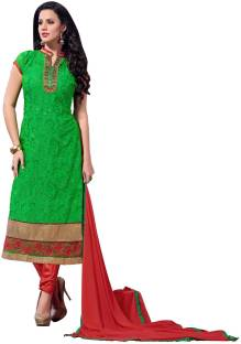 Manvaa Georgette Embroidered Semi-stitched Salwar Suit Dupatta Material