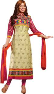 Helix Enterprise Cotton Embroidered Semi-stitched Salwar Suit Dupatta Material