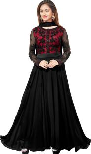 Hitansh Fashion Georgette Embroidered Semi-stitched Salwar Suit Dupatta Material
