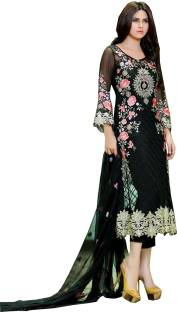 51222990cc MF Retail Georgette Embroidered Semi-stitched Salwar Suit Dupatta Material