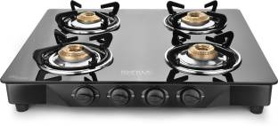 Ideale Graacio SIRO Burner Glasstop Glass, Stainless Steel Manual Gas Stove