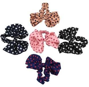 Yueton Pack of 5 Cute Girls Women s Big Polka Dot Rabbit Ear Hair Bow Tie  Bands 6232f4b7f92