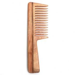 Ishita International Handmade Neem Wood anti-static Handle Shampoo Comb