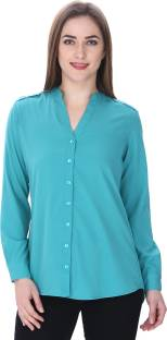 MansiCollections Women's Solid Formal Green Shirt
