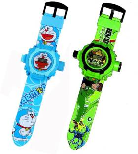 Fashion Gateway Ben 10 and Doraemon, 24 Image Project Digital Watch for Kids Green::Blue Digital Watch  - For Boys & Girls