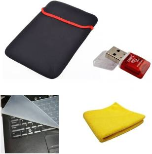 De TechInn 15.6  Inch Laptop Carry Sleeve, Laptop Keyboard Protector, Microfiber Cloth And Memory Card Reader Adapter Combo Set