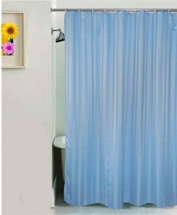 Yellow Weaves PVC Blue Self Design Shower Curtain
