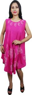 Indiatrendzs Women's A-line Pink Dress