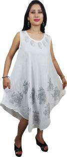 Indiatrendzs Women's A-line White Dress