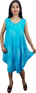Indiatrendzs Women's A-line Light Blue Dress