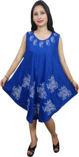 Indiatrendzs Women's A-line Blue Dress