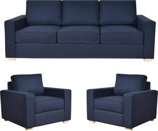 Furny Fabric 3 + 1 + 1 Dark Blue Sofa Set