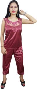 Indiatrendzs Women's Nighty with Robe, Top and Capri