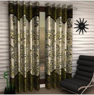Panipat Textile Hub Polyester Green Floral Eyelet Door Curtain Part 42
