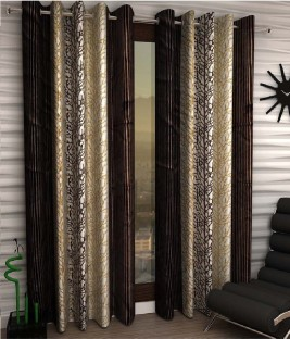 Panipat Textile Hub Polyester Brown Geometric Eyelet Door Curtain Part 17