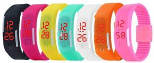 Fashion Gateway Led Magnet Band Wrist Digital Watch (pack 7) For Boys & Girls Digital Band Watch Digital Watch  - For Boys & Girls