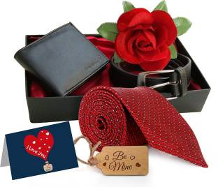 Tied Ribbons Birthday Gifts For Boyfriend Combo PackBelt Wallet Tie Rose