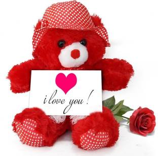 Tied Ribbons Birthday Gifts For Girlfriend Teddy Bear With Greeting Card And Red Rose Soft Toy