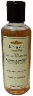 KHADI NATURAL HERBS Lemon & Honey Body wash N Bubble Bath (Paraben & sulphate Free)
