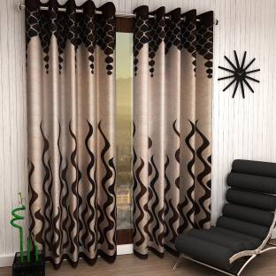 Home Sizzler Polyester Brown Abstract Eyelet Door Curtain