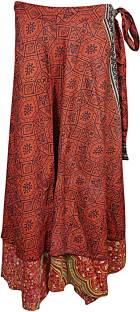 Indiatrendzs Printed Women's Wrap Around Red Skirt