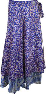Indiatrendzs Floral Print Women's Wrap Around Purple Skirt