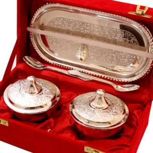 1cdb649f1fe7 HandicraftsHomeDecor A beautiful German Silver Two Dibbi Set With 2 Spoon  Silver Plated