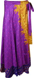 Indiatrendzs Printed Women's Wrap Around Pink, Purple Skirt