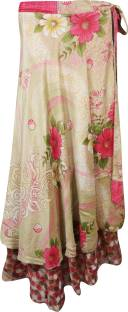 Indiatrendzs Floral Print Women's Wrap Around Brown, Green Skirt
