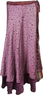 Indiatrendzs Printed Women's Wrap Around Pink Skirt