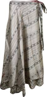 Indiatrendzs Printed Women's Wrap Around Beige Skirt