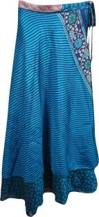 Indiatrendzs Printed Women's Wrap Around Blue Skirt