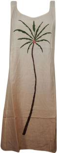 Indiatrendzs Women's Shift Beige Dress